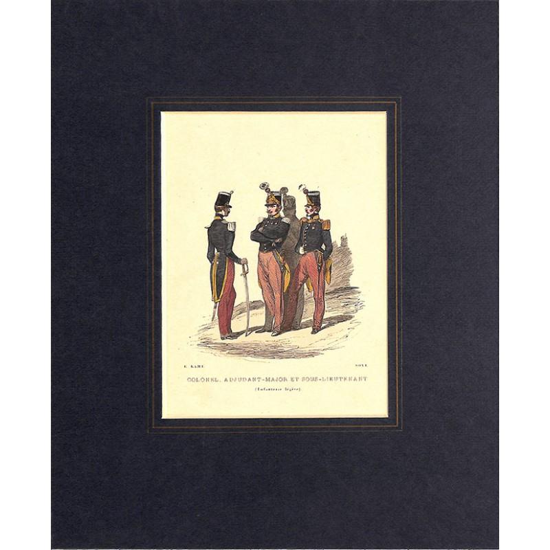 Gravures [Militariat] LAMY, Eugène-Louis.- COLONEL, ADJUDANT-MAJOR ET SOUS-LIEUTENANT Infanterie légère.