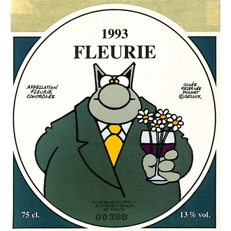 ABAO Varia Geluck - Le Chat. Etiquette de vin. Fleurie 1993.